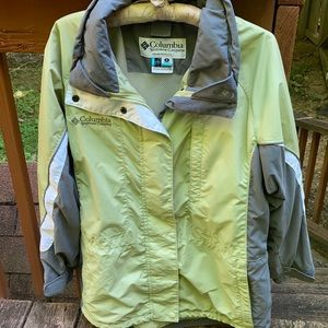 Columbia green, grey and white jacket.